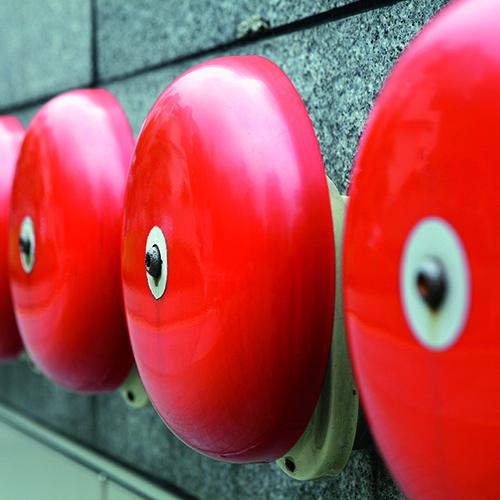Close-up of fire alarm bells