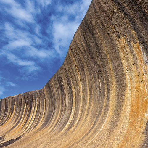 In Western Australia there is an amazing natural rock formation, known as Wave Rock. The wave looks like a tall breaking ocean wave and is 14m high, and 110m Long.