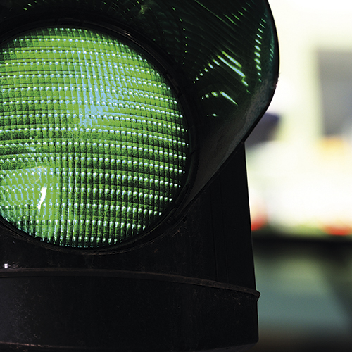 Close up of traffic light in city environment